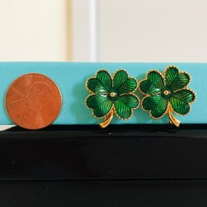 Jewelry - Four Leaf Lucky Flower Green Gold Clip on earrings